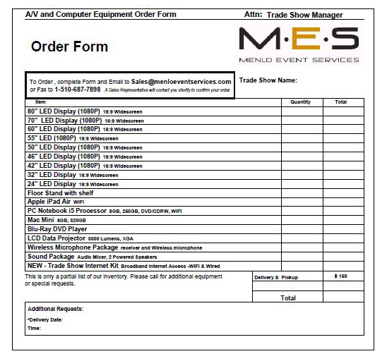Audio Visual and Computer Equipment Order Form